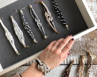 Black Cord Bracelet / Nautical Bracelet / Knot Bracelet / Rope Bracelet / Silver Knot Bracelet / Bracelet / Sailor Bracelet / Cord Bracelet