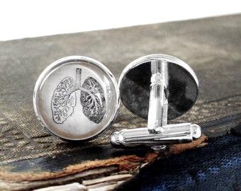 Anatomical Lungs Cufflinks / Cuff Links - Antique Anatomy Print Cufflinks in Silver