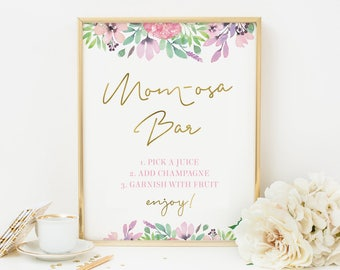 Momosa sign PRINTABLE. Mom-osa Baby shower sign INSTANT DOWNLOAD Baby Shower decorations, Baby sprinkle party sign, Floral Bar sign 8x10, A4
