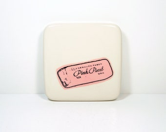 tile of a pink pearl eraser. Made to Order.