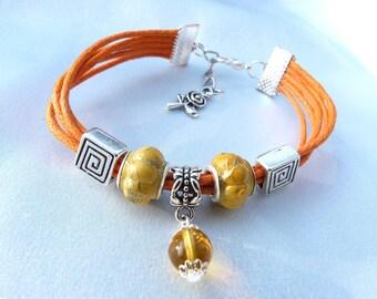 Orange wax cord + Indian style Beads Bracelet