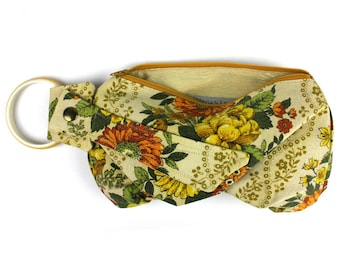 Your Grandma's Curtains Recycled - Floral Bracelet Wristlet Purse
