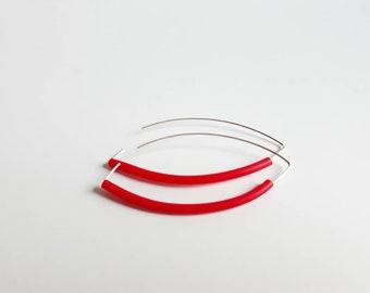 Lippy red long drop earrings