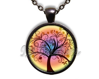 Whimsical Tree Glass Dome Pendant or with Chain Link Necklace