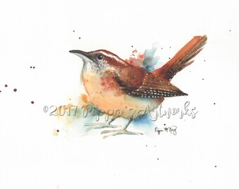 Watercolor Print of Carolina Wren, Watercolor Print, Bird Painting, Wall Art, Home decor, Wild Bird Picture
