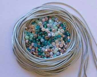 Kumihimo Mix Packs - Fairy Dust Mix - Beading Mix - 40g Size #6 Seed Beads - Japanese Beads - Silver Satin Cord + Crystal Rhinestone Magnet