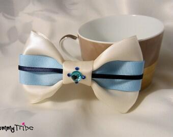 Blue Bow Tie: Ivory Bow Tie with Swarovski Crystals, Baby Blue Bow Tie, Wedding Bow Tie