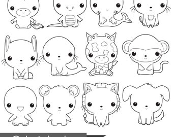 Animal digital stamp, cute digital stamps, commercial use, digital image, cute digital clipart, line art