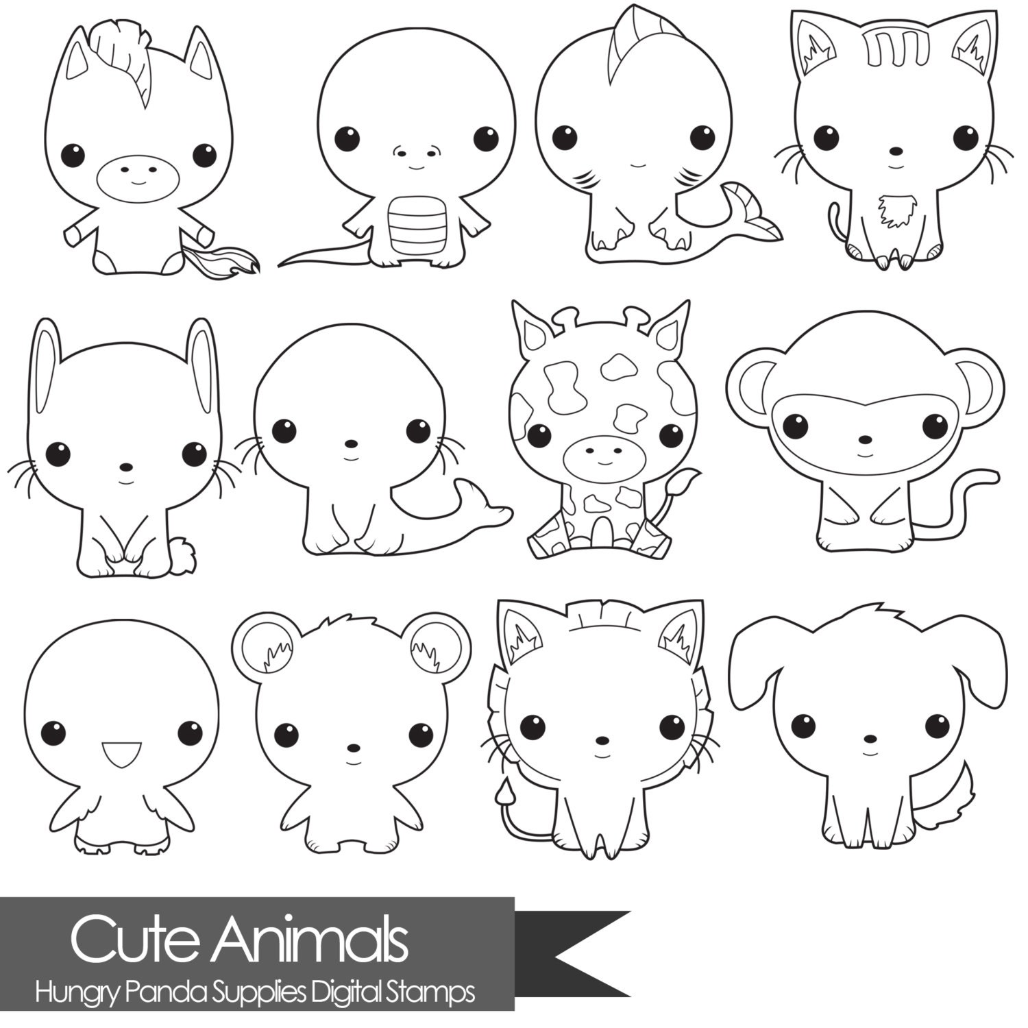 Animal digital stamp, cute digital stamps, commercial use