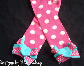 BABY GIRLS Legwarmers -Baby Leggings- Baby Legwarmers -Toddler Legwarmers- Polka Dot Legwarmers -Hot Pink and White Dots with Ribbon Bows
