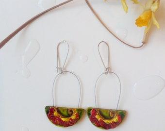 Mary's Hand -  handpainted ceramic earrings