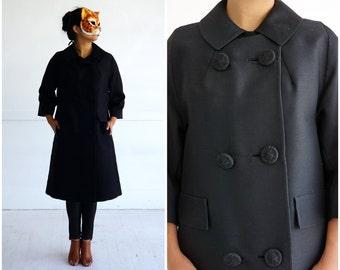 Vintage 1950's Long Black Silk B Jacket by Ehrenberg Brothers   Medium
