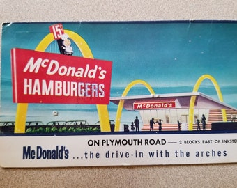 Vintage McDonalds Golden Arches Advertising Postcard 1960 .15 Burger