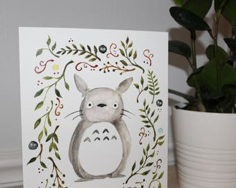 Totoro 8x10 Watercolor Print