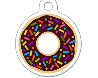 Pet ID Tag - Chocolate Donut with Sprinkles Pet Tag, Dog Tag, Cat Tag