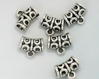 15pcs--Hollow Hanger Links, Lead Free, Antique Silver, 10x12x6mm, (B35-15)