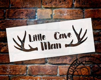 Little Cave Man - Antlers - Word Art Stencil - Select Size - STCL2055 - by StudioR12
