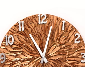 Large wall clock COPPER WALL CLOCK, copper and silver original painting clock office decor unique wall clock with numbers sun clock man cave