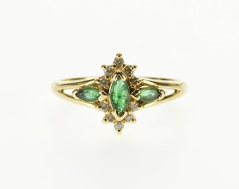 14k Three Stone Marquise Emerald Diamond Halo Ring Gold