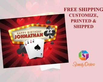 Large Ace Casino Playing Cards Birthday banner, Rummy poster, Poker Party Decorations, Gamble Birthday Banner, Poker cards poster ; 1500019