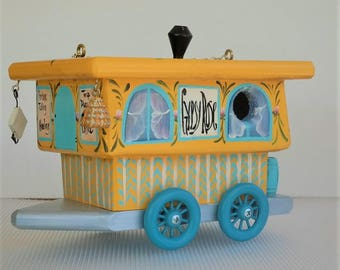 Whimsical Yellow Gypsy Rose Wagon Birdhouse , for Outdoor Wild Birds , Handmade , Hand Painted with Clean Out