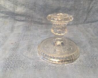 Pressed Glass Candle Holder Vintage Retro