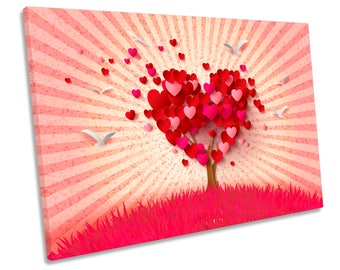 Love Heart Tree Rays CANVAS WALL ART Box Framed Print Picture