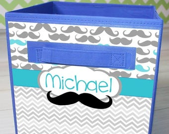 Aqua Moustache Fabric Bin Kids's Personalized Bedroom Baby Nursery Organizer for Toys or Clothing FB0082