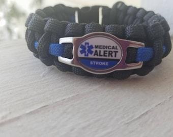 Stroke medical alert bracelet