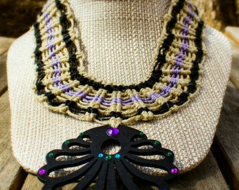 SALE! 10% off! Hemp necklace with wood and crystal pendant