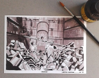 Squeak-InkTober 2017-Signed Art Print Limited edition 10 units