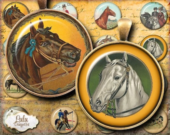 Horse digital collage sheet, 1 inch circle images, pendant images, bottle cap images, bottlecap, digital stamp, printable stickers, horses