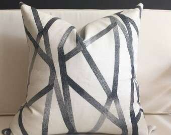 Pillow Cover, Black and Beige Pillow Cover, KENNEDY