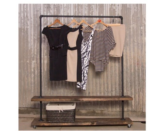 90D - Double Shelf Clothing Rack - Pipe Clothes Racks - Industrial Clothing Rack - Pipe Furniture - Closet Storage