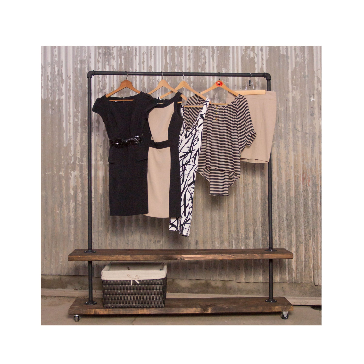 90d double shelf clothing rack pipe clothes racks. Black Bedroom Furniture Sets. Home Design Ideas