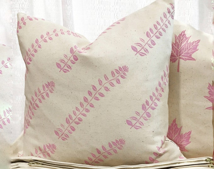 Organic cotton canvas pillow cover - perennial stems in blossom pink