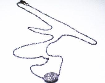 Pavé Diamond Charm Necklace Genuine Diamond Necklace Precious Diamond Oxidized Sterling Silver Real Diamond April Birthstone PD-N-102-os