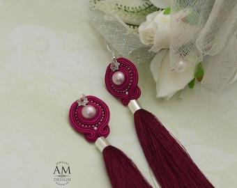 statement jewelry tassel earrings magenta pink earrings elegant soutache earrings wife birthday gift soutache jewelry fringe earrings