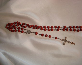 Rosary Beads Catholic Religion Religious Red