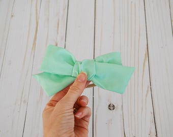 Sophie Hand-tied Mint Green Simple Classic Fabric Bow Nylon Elastic or Alligator Clip