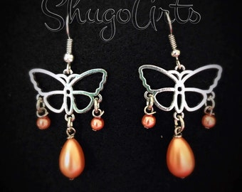 Pearl orange butterfly earrings