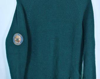 Vintage McGregor mens knit jumper patches green sz M