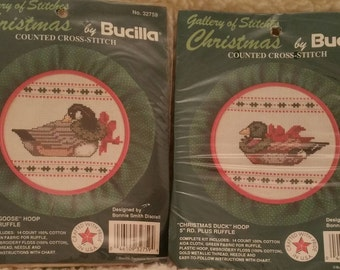Vintage, Counted Cross Stitch, Christmas, Goose, Duck, Bucilla, 32759, 32760, Hoop, Cross Stitch, Kit, Gallery of Stitches, unopened