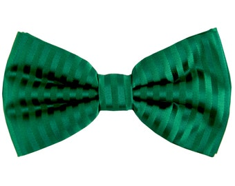 Men's Vertical tone on tone Striped Emerald Green Pre-Tied Bowtie, for Formal Occasions (625)