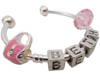 Personalised Girls Charm Bangle. Children's Jewellery.