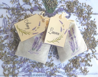 Lavender Sachets with Personalized Tags, Lavender Wedding Favors, Lavender Shower Favors, Baby Shower, Lavender Placards, Handmade set of 25