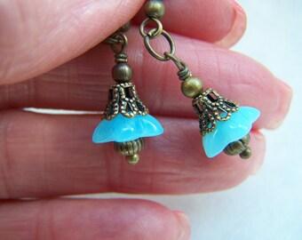 Aqua Glass Earrings - Blue Glass Earrings - Bellflower Dangle Earrings Doodaba