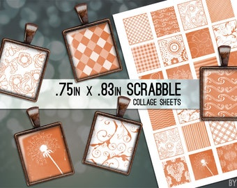 Burnt Orange and White Patterns Collage Sheet Scrabble Tile Images .75x.83 on 4x6 and 8.5x11 Download Sheets for Glass Resin Pendants