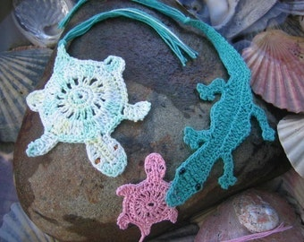 Australian Reptiles of the Water- Crocodiles and Turtles crochet bookmarks and motifs