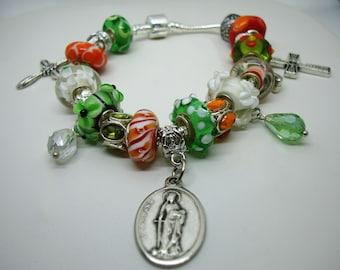 Patron Saint Mentally ill Dymphna European style charm Murano orange green beads bracelet crystals U pick chain size Help save a cat/kitten